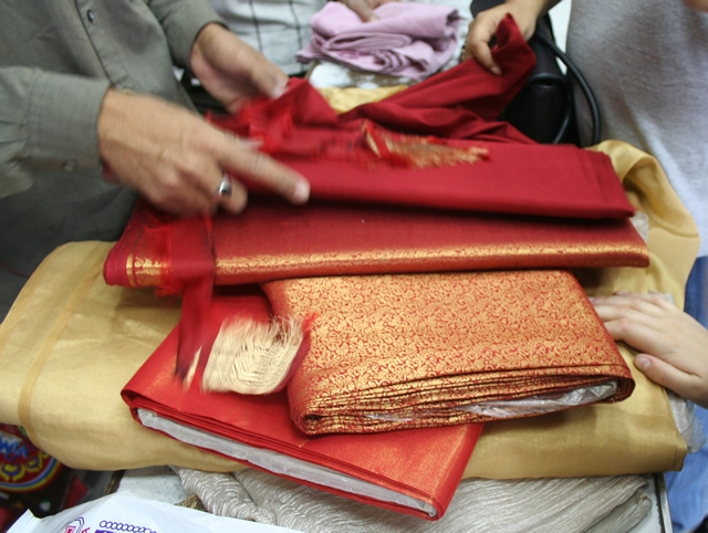 matching cloth for sari blouse, red and gold