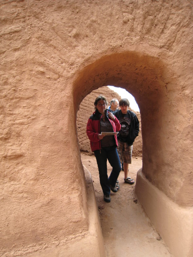 Sharon and Robin through an arch, Pecos Pueblo