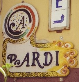 sign for Pardi ceramics shop, Castelli, Abruzzo, Italy