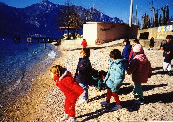 children on the beach at Malcesine