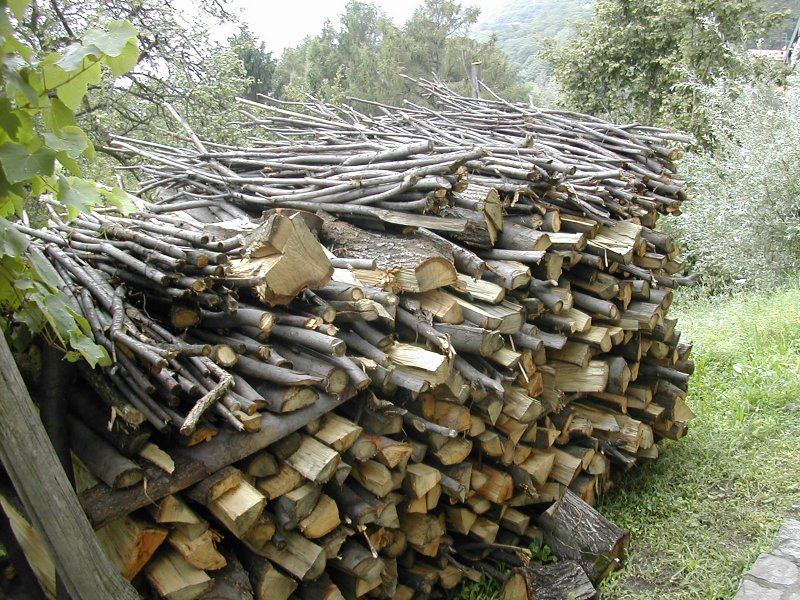 woodpile, Italian Alpine village
