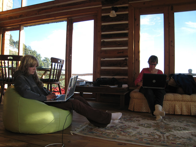 working from the Bothwell Bank guest house, Mussoorie