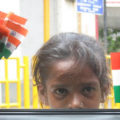 girl selling Indian flags, Independence Day