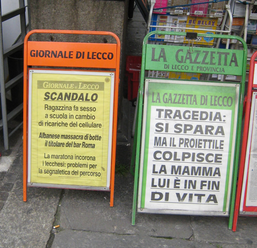 Italian newspaper headlines