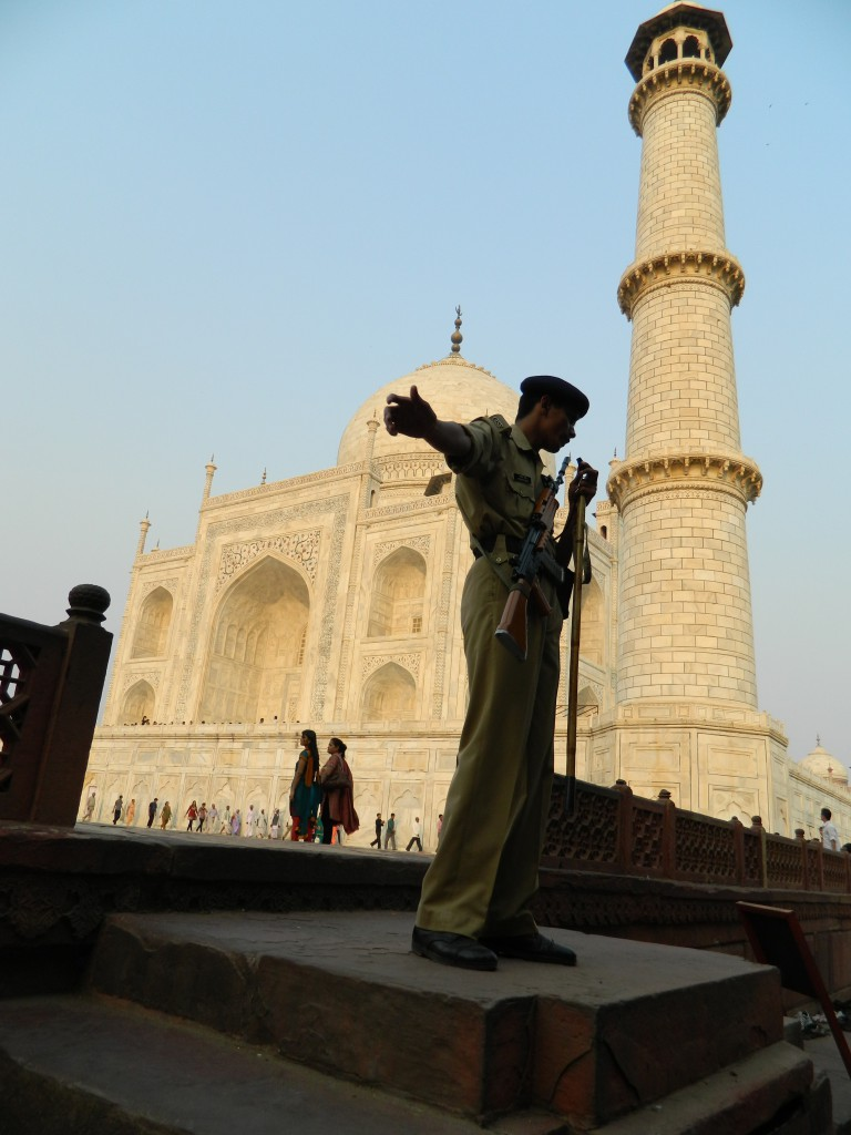 security guard at Taj Mahal, photo copyright Brendan Grett