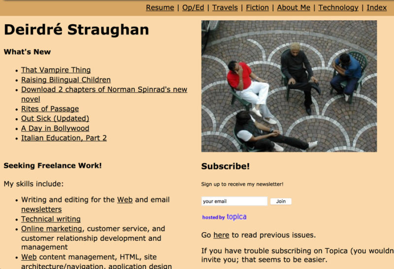 Deirdré Straughan personal site in 2003