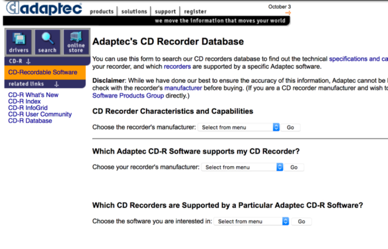Adaptec CD Recorder Database