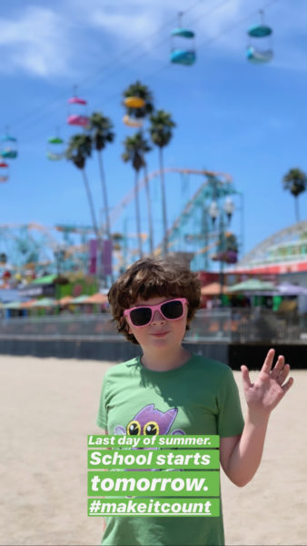 Michell at Santa Cruz beach boardwalk, photo and Instagram post by Rossella.