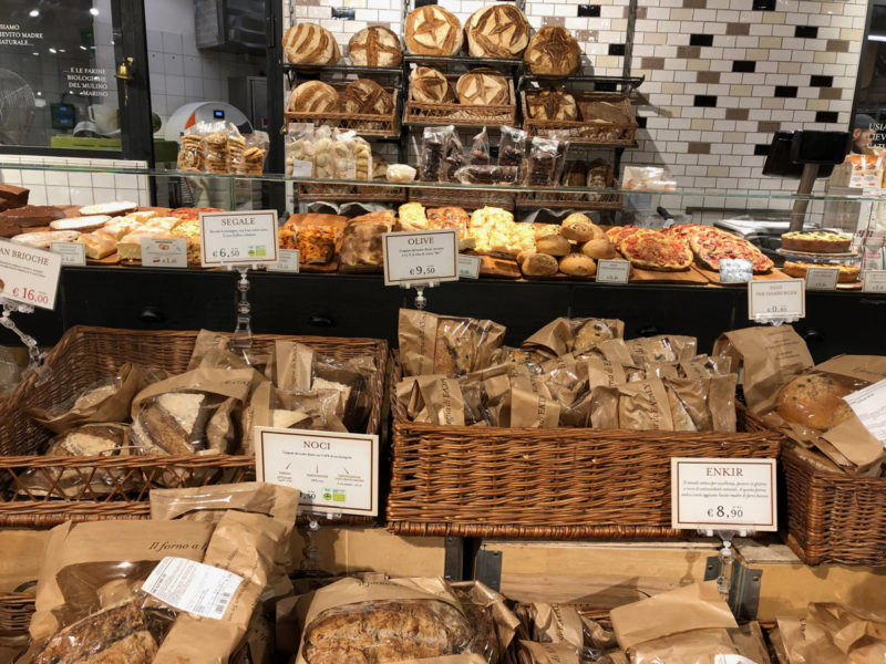 large selection of bread at Eataly, Milan.