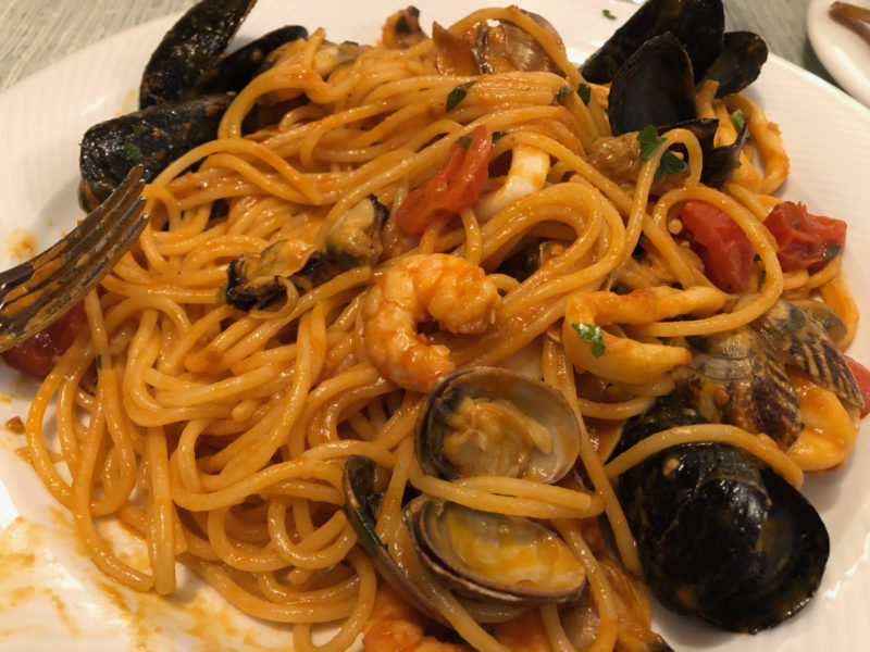pasta allo scoglio (shellfish) at Ranch Roberta, Milan.
