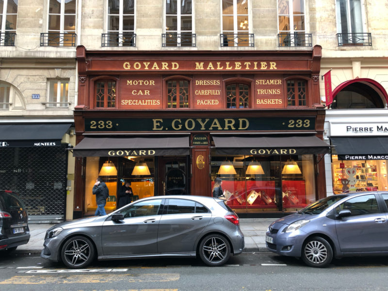 shop front of Goyard Malletier in Paris.