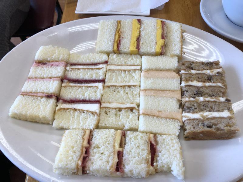 Wedding cake tasting platter with fresh fruit fillings