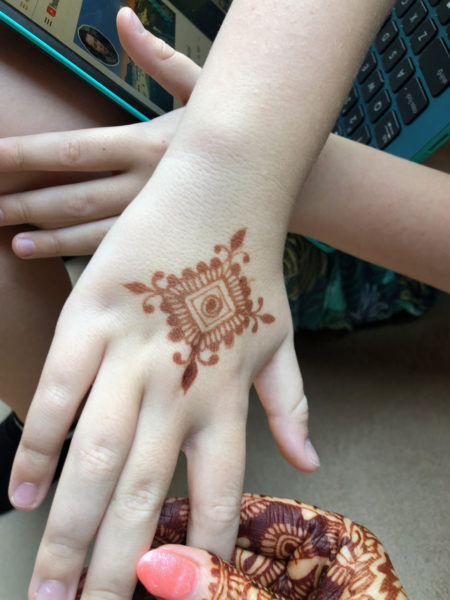 Mitchell's hand with mehndi