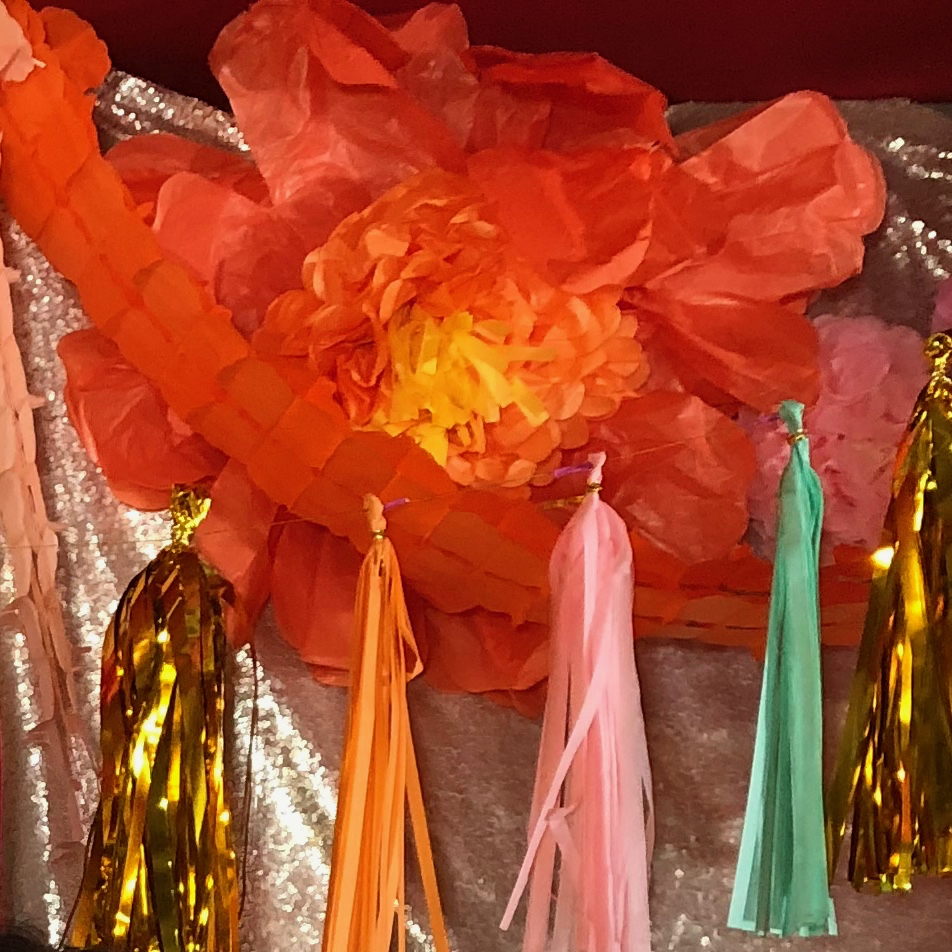 paper flower and colored paper tassels - wedding decorations