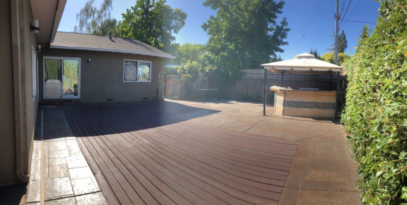 backyard before tent installation