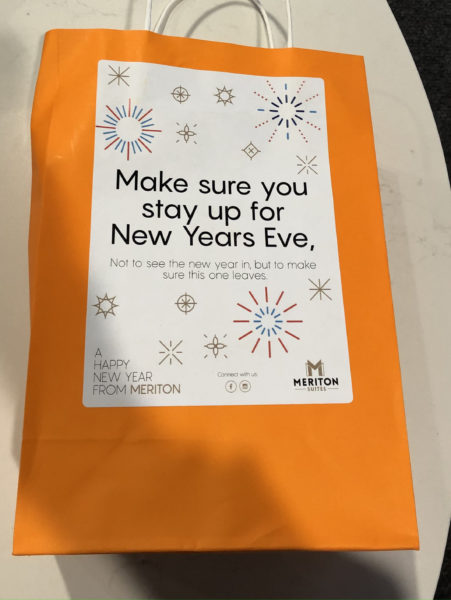 """New Year's goody bag that says """"Make sure you stay up for New Years Eve - Not to see the new year in, but to make sure this one leaves"""""""