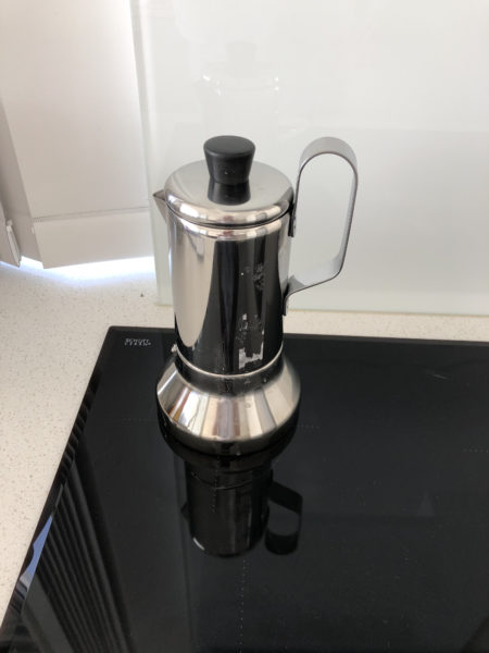 moka espresso pot on the stove