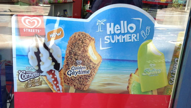 "advertisement for ice cream with the slogan ""Hello summer!"""