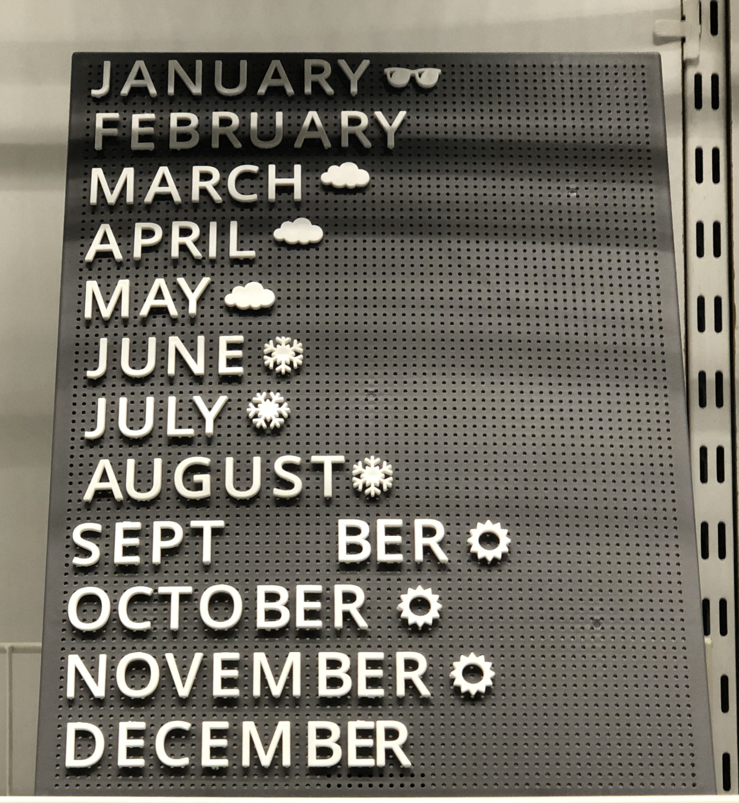 sign with Aussie-appropriate symbols next to month names - sunglasses in January, snowflake in July